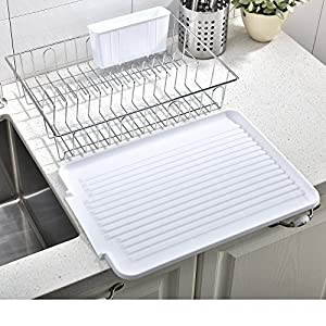 Wtape Best Commercial Steel Rust Proof Kitchen In Sink Side Draining Dish Drying Rack, Black Dish Rack With White Drainboard