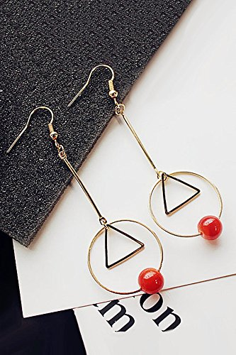 Agate Circle Pendant (Generic Korean_style_of wild_geometric_circle_triangle_Red_Agate_ pendant necklace ear hair Clip women girls _long ear Nail earrings Earring eardrop earrings)
