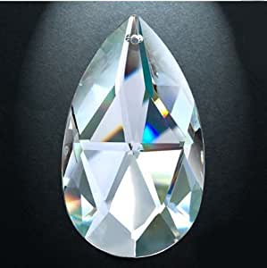 Asfour Crystal 872 Pear-Shape Clear Crystal Prism, 2-Inch, 1 Hole , Box of 135 Pieces