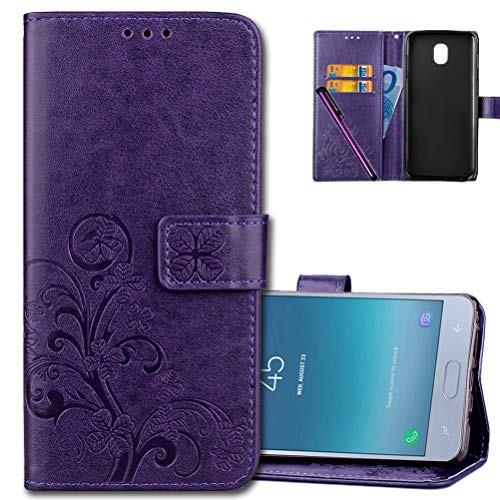 J3 2018 Wallet Case Leather COTDINFORCA Premium PU Embossed Design Magnetic Closure Protective Cover with Card Slots for Samsung Galaxy J3 Star/ J3 2018/ J3 Achieve/ J3 V 3nd Gen. Luck Clover Purple