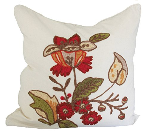 Xia Home Fashions Crewel Embroidered Floral Decorative Pillow Feather/Down Filled, 18 by 18-Inch ()