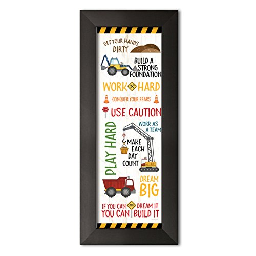Sagebrush Fine Art Adorable Construction Truck, Digger and Crane Typography Panel Print, Perfect for A Child's Room Or Nursery; One 6x18in Black Framed Print
