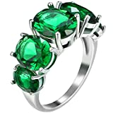 Platinum Plated Green Emerald CZ Crystal Unisex Anniversary Ring 5 Stones Promise Eternity Band 9