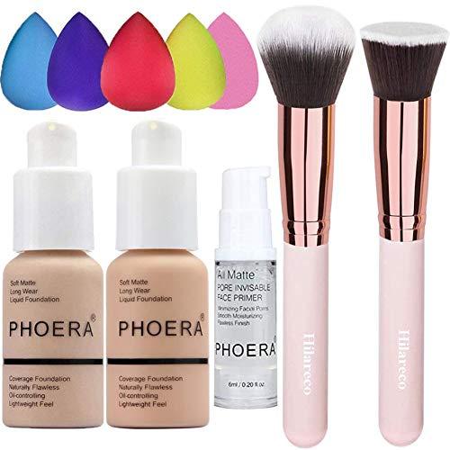 PHOERA Foundation 102 and 103 & Face Primer,Liquid Full Coverage Foundation Set,Foundation Brush Powder Brush,5 Makeup…