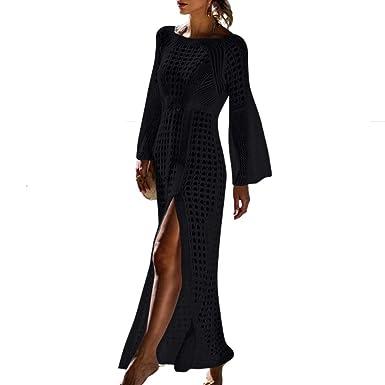 d61590672e Saherewanr Women's Swimsuit Cover Up Dress Long Bathing Kimono Beach-wear  Stripe Lace Maxi Skirt