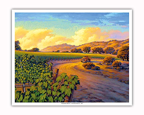 Pacifica Island Art - Vineyard Sunset - Wine Country Art by Kerne Erickson - Fine Art Print - 16in x 20in by Pacifica Island Art (Image #1)