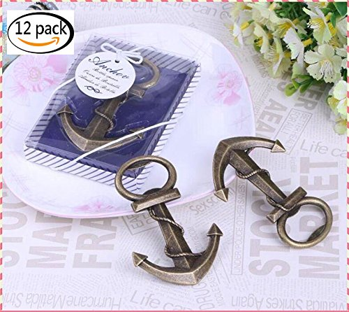 Youkwer 12 PCS Skeleton Nautical Anchor Bottle Opener with Exquisite Packaging for Wedding Party Favors Gift & Decorations (Anchor, Autique Bronze) (Exquisite Wedding Favors)