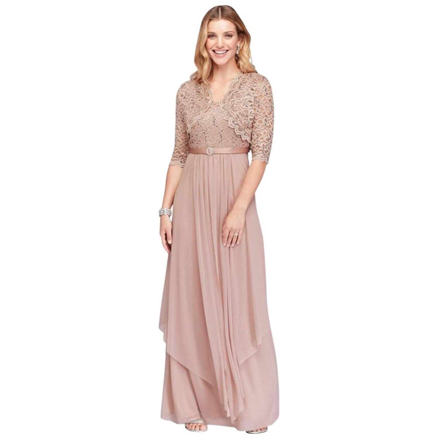 David\'s Bridal Sequin Lace and Chiffon Mother of Bride/Groom Dress ...