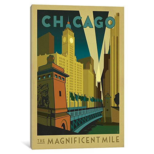 iCanvasART ADG86 The Magnificent Mile Chicago Illinois LL by Anderson Design Group Canvas Print, 26-Inch by 18-Inch, 0.75-Inch Deep Magnificent Mile Chicago