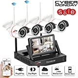 Wireless Security Camera System 4CH with 7'' Monitor Home Surveillance DVR kits 3.6mm Wide Angle 49ft Night Vision CCTV Camera System 4pcs IP Bullet Cameras Plug and Play SWINWAY ANRAN