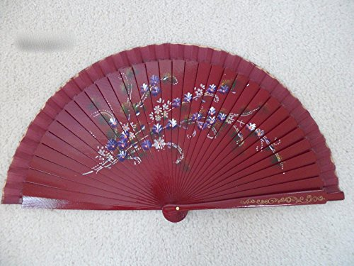 Hand Painted Paper Shade (Maroon Wood Spanish Flamenco Vintage Wooden Folding Hand Fan Hand Painted)