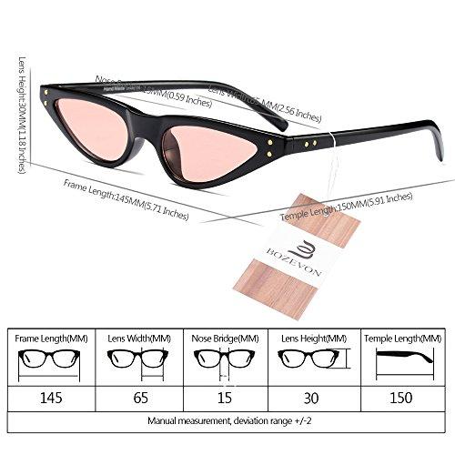 Clásico de Mujer gafas Retro Moda Gafas Sol BOZEVON Rosa Negro Triángulo wEfdxCIqW