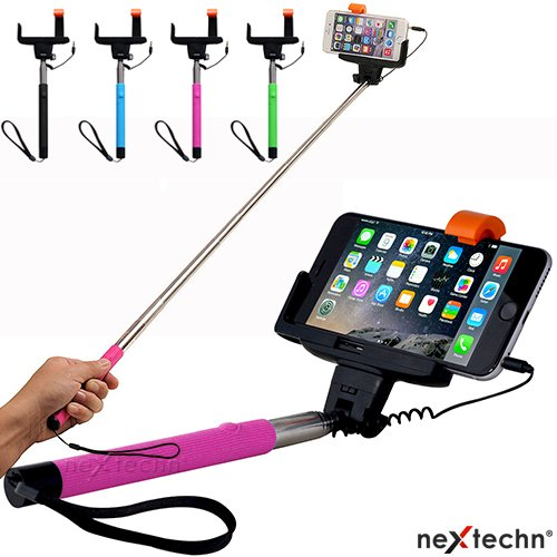 nextechn black extendable aux cable take pole handheld stick selfie monopod wired shutter. Black Bedroom Furniture Sets. Home Design Ideas