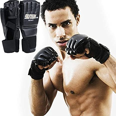 Men Women Kickboxing Martial Arts Gloves Punch Bag Muay Thai Mitts Gym Workout