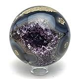 Astro Gallery Of Gems Amethyst Geode Agate Sphere (3'' diameter, 1 lbs)