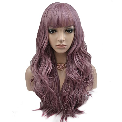 BERON Long Wavy Soft Synthetic Wig with Straight Bangs for Women Girls Wig Cap Included (Taro Purple)
