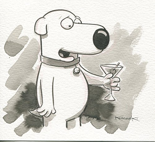 Family Guy Brian OOAK Original Hand Inked Illustration Drawing Signed COA pj1 from PJ's Collectibles