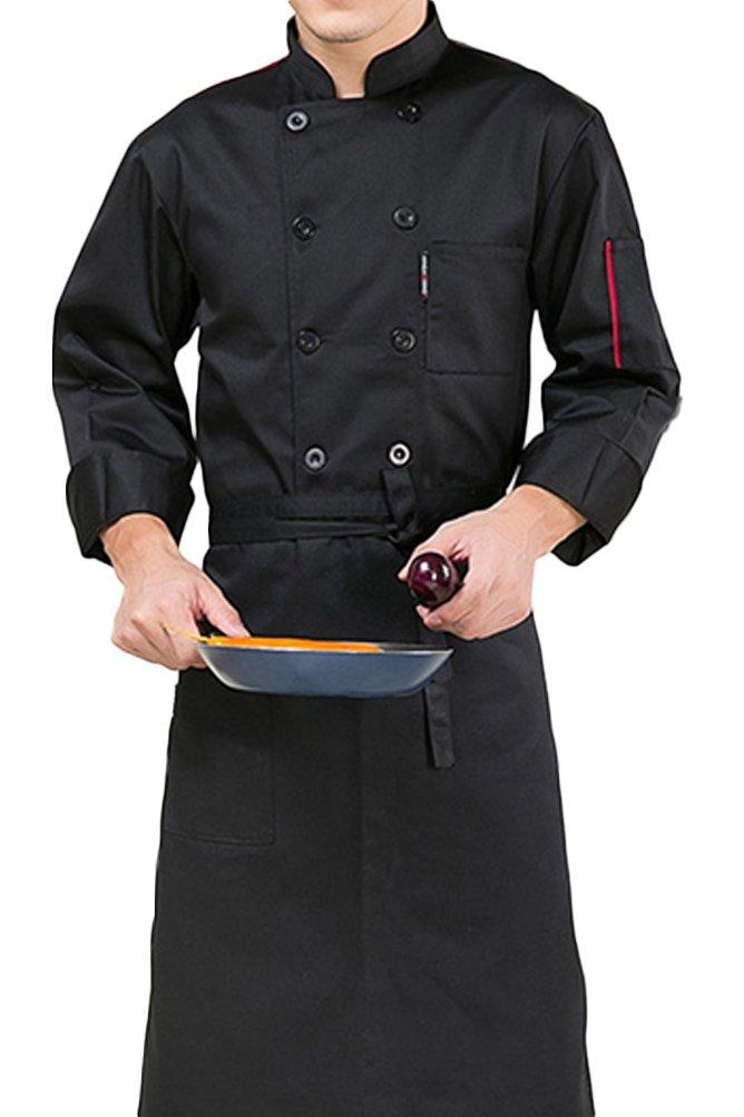 Nanxson TM Unisex Women Men Kitchen Uniform Jacket Long Sleeved Chef Jacket CFW1003 (L/Tag Size XL, Black)
