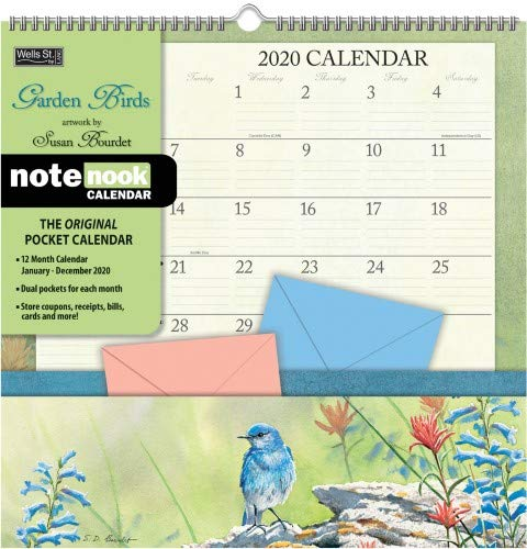 Calendar With Pockets (Garden Birds 2020 Pocket Wall)