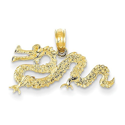 14K Yellow Gold Dragon Pendant - (0.57 in x 0.91 in)