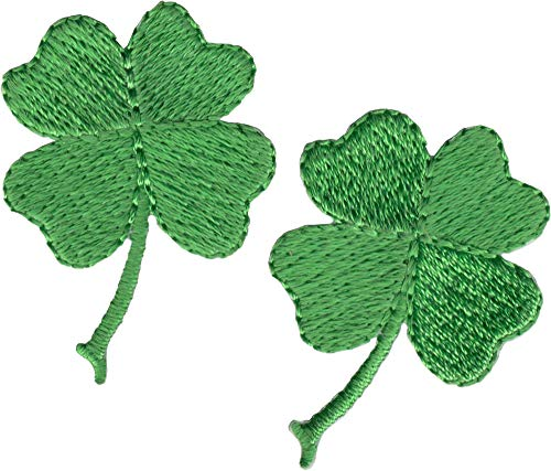 Small Four Leaf Clover - 2 FOR THE PRICE OF ONE!! - Embroidered Iron On Patches