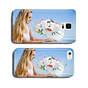 Composite image of pretty blonde using her laptop at the beach cell phone cover case Samsung S6