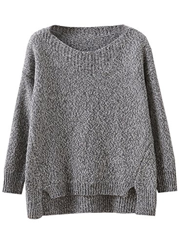 Sweater Futurino Fit Manches Tricot Femme Pull Oversize Classique Noir Longueues qwr4fO8q