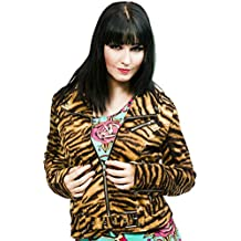 Tripp NYC Gothic Punk Rocker Moto Biker Wild Child Tiger Print Coat Jacket