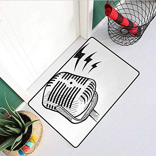 GloriaJohnson Doodle Inlet Outdoor Door mat Retro Microphone Communication and Media Concept Radio Show Speech Talk Podcast Catch dust Snow and mud W31.5 x L47.2 Inch Black White