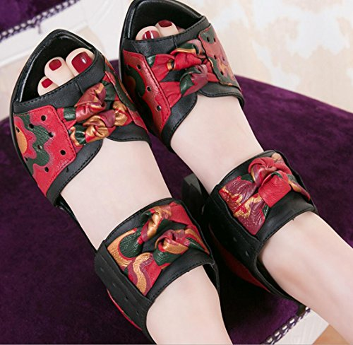 Absatz Sandalen red Damenschuhe Heels High WSK Hohlen Leder Sandaletten Leggings Damen Dicken Bogen Damen Blumen n6On8Y