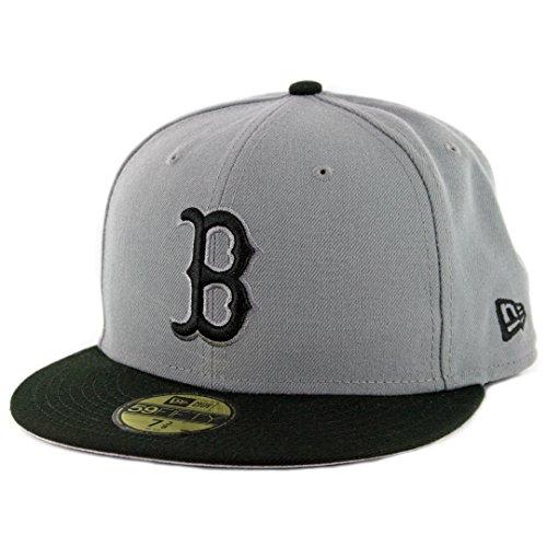 New Era 59Fifty MLB Basic Boston Red Sox Fitted Gray/Black Headwear Cap (7 3/8)