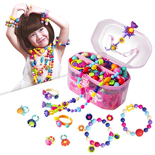 (Pop Beads, Jewelry Making Kit - Arts and Crafts for Girls Age 3, 4, 5, 6, 7 Year Old Kids Toys - Hairband Necklace Bracelet and Ring Creativity DIY Set)
