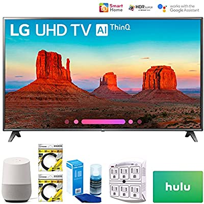 "LG 75SK8070PUA 75"" Class 4K HDR Smart LED AI SUPER UHD TV 2018 Model (75SK8070PUA) with Google Home, 2x 6ft HDMI Cable, Screen Cleaner for LED TVs, 6-Outlet Surge Adapter & 100 Hulu PLUS Gift Card"