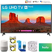 LG 75SK8070PUA 75 Class 4K HDR Smart LED AI Super UHD TV 2018 Model (75SK8070PUA) with Google Home, 2X 6ft HDMI Cable, Screen Cleaner for LED TVs, 6-Outlet Surge Adapter & $100 Hulu Plus Gift Card