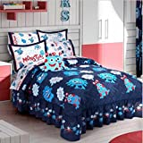 LITTLE MONSTERS BOYS CHIC COLLECTION BEDSPREAD/COMFORTER SET AND SHEET SET 6 PCS TWIN SIZE