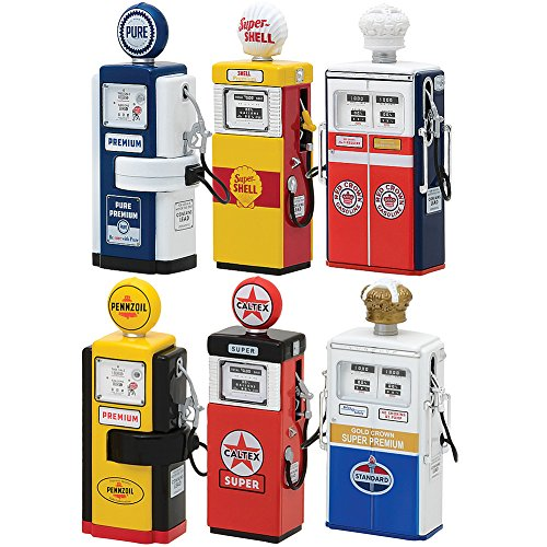 (GREENLIGHT LLC (Set) Vintage Gas Pumps Series 3 and 4 - Six Collectible 1:18 Scale Pieces)