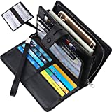 Wallet for women- RFID Blocking Real Leather checkbook wallet clutch organizer,checkbook holder(Black)