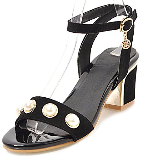 Black Aisun Mid Chic Sandals Buckled Block Heels Women's 50n0xvWrz