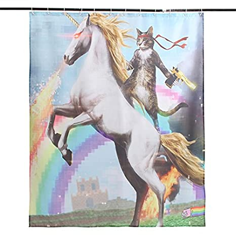 Cat Unicorn Shower Curtain