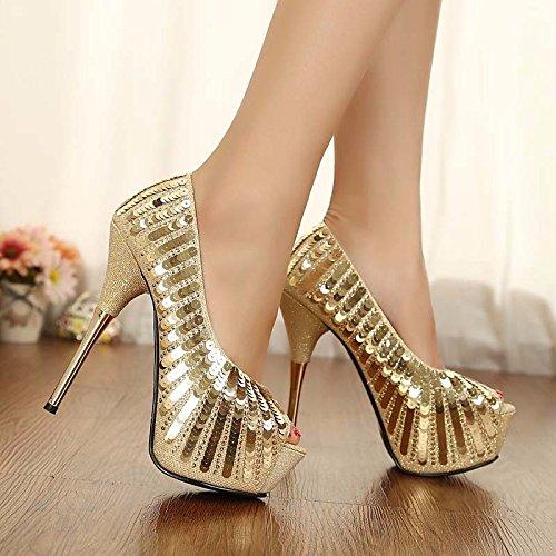 ZHZNVX Zapatos de Mujer PU Primavera Otoño Bomba Básica Comfort Sandalias Stiletto Talón for Casual Oro,Oro,US8/UE39/UK6/CN39