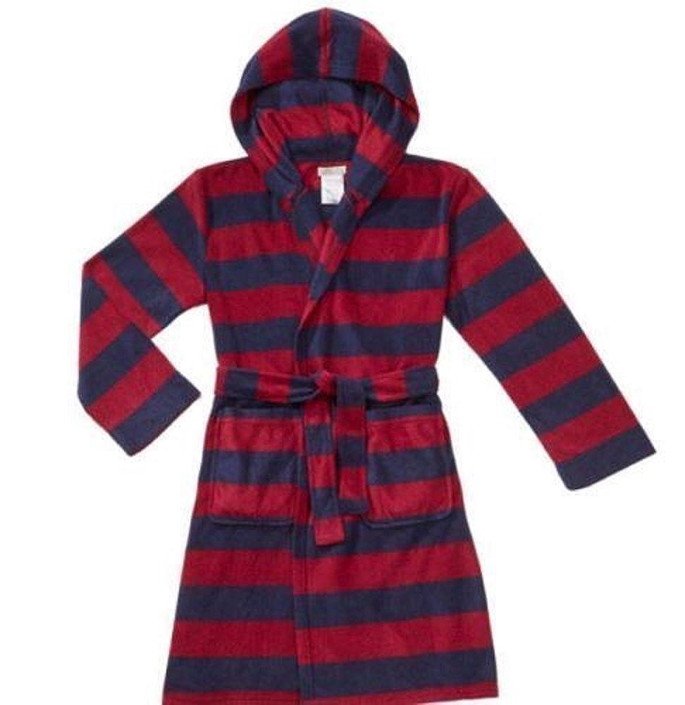 Komar Kids Boys Robe Dressing Gown Blue & Red Fleece Stripe Design Pockets Tie Belt