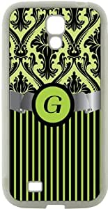 """Rikki KnightTM Letter \""""G\"""" Initial Lime Green Damask and Stripes Monogrammed Design Samsung\xae Galaxy S4 Case Cover (White Hard Rubber TPU with Bumper Protection) for Samsung Galaxy S4"""