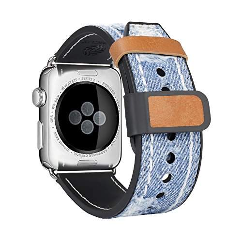 (top4cus Compatible with Apple Watch 38mm 42mm Blue Jean Denim Fabric Strap for iWatch Series 1 Series 2 Sereis 3 for Men and Women (38mm, Jean Blue))