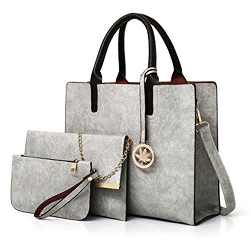 Bag Bags Women Large Light Leather Pcs 3 Ladies Grey Bag Purse Set Bags Handbag Handbag Shoulder Messenger Tote Women Rz0ZH