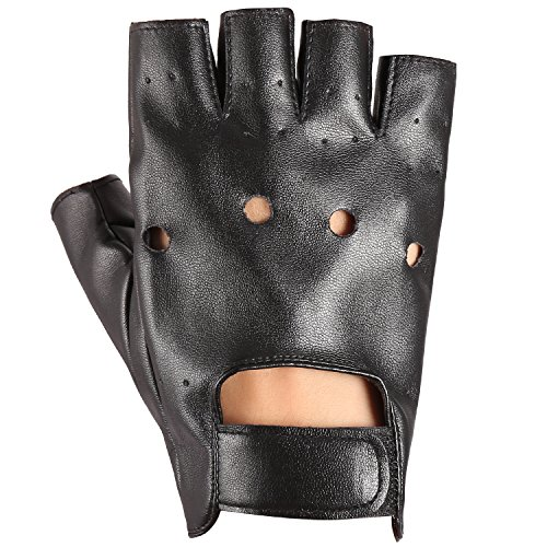 Black Half Finger PU Leather Performance Gloves for Men Women Motorcycle Car Driving (Two And A Half Men Halloween)