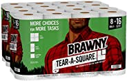 Brawny Tear-A-Square Paper Towels, 16 Double Rolls = 32 Regular Rolls, 3 Sheet Size Options, Quarter Size Shee