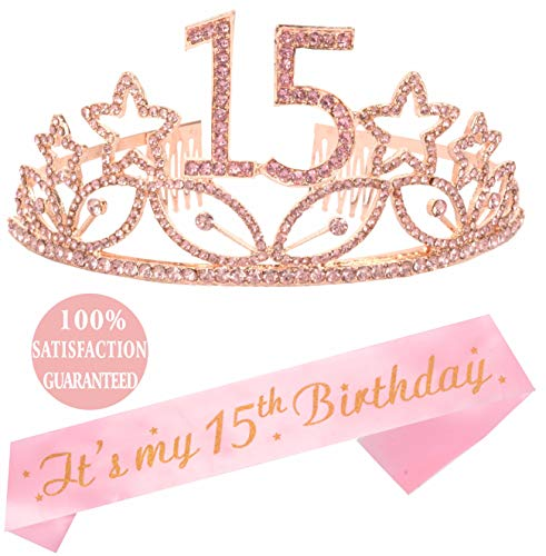 15th Birthday Tiara and Sash Pink| Happy 15th Birthday Party Supplies| Crystal Tiara Birthday Crown for 15th Birthday Party Supplies and Decorations (Pink)... (Cakes For A 15 Year Old Girl)