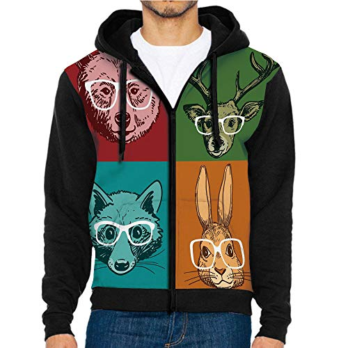 3D Printed Hooded Sweatshirts,Faces with Glasses Line,Hooded Casual