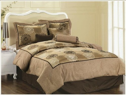 Luxury Jacquard Queen 7 Piece (Queen Size 7 Pieces Linen and Jacquard Comforter Set)