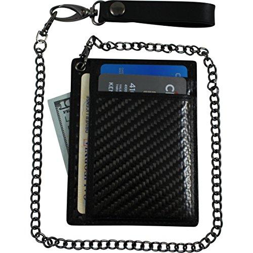 Minimalist Carbon Fiber RFID Blocking Anti-Theft Wallet w/ Removable Chain